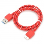 Micro USB 3.0 Type B Data / Charging Cable for Samsung Note 3 / N9000 - Red + Multicolored (100cm)