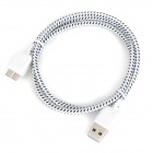 Micro 3.0 9-Pin Male to USB Male Nylon Charging Data Cable for Samsung N9000 - White + Black (1m)