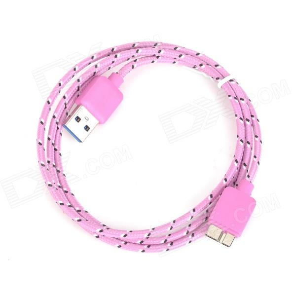 Micro 9-Pin Male to USB 3.0 Male Nylon Data Charging Cable for Samsung N9000 - Pink + Black (1m) flat micro usb male to usb 2 0 male data sync charging cable for samsung more purple 100cm