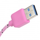 Micro 9-Pin Male to USB 3.0 Male Nylon Data Charging Cable for Samsung N9000 - Pink + Black (1m)