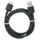 USB Male to Micro USB Male Charging Data Cable for Samsung Galaxy Note 3 - Black + Blue (100 cm)
