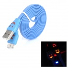 Flashing Smile Micro 9-Pin Male to USB 3.0 Male Charging Data Cable for Samsung N9000 - Deep Blue