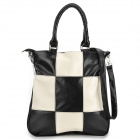 Plaid Pattern Fashion Women's PU One-Shoulder Bag - Black + White