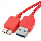 USB 3.0 Data/Charging Nylon Cable for Samsung Galaxy Note 3 N9000 - Red