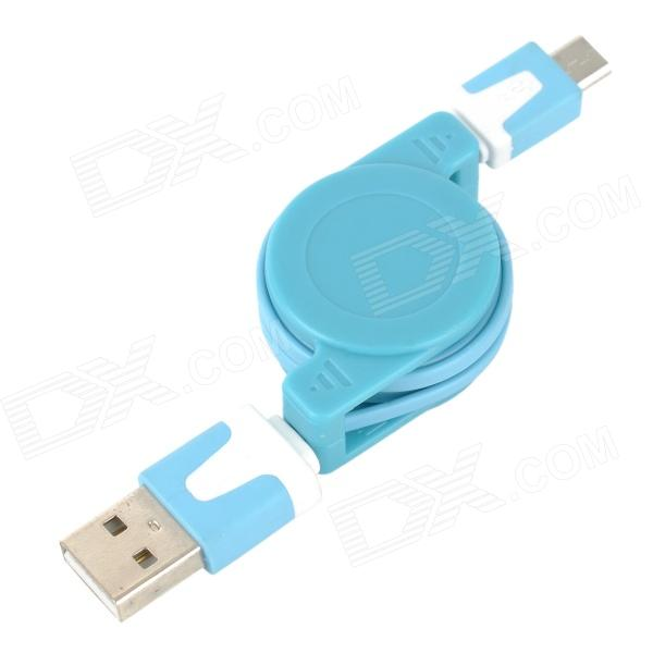 Convenient USB Male to Miro USB Male Retractable Data Sync & Charging Cable - Light Blue + White
