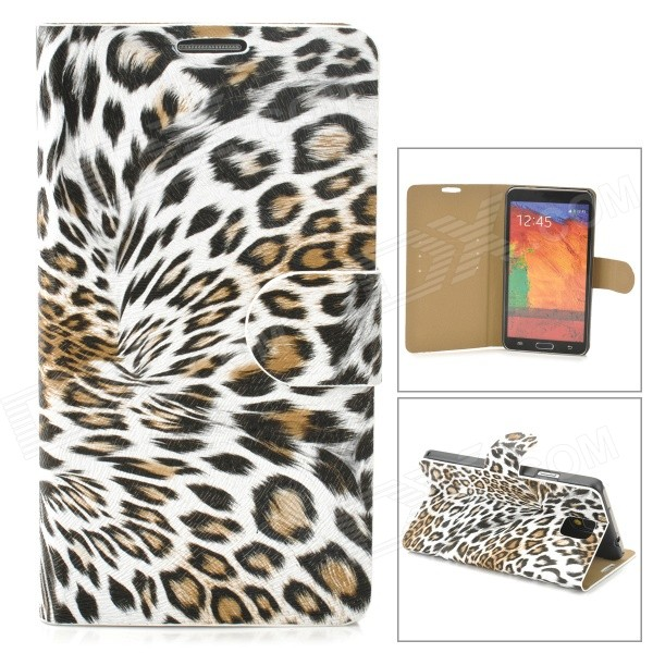Stylish Leopard Pattern Flip-open PU Leather Case w/ Holder + Card Slot for Samsung Note 3 - Grey проводной и dect телефон us 6896
