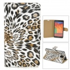 Stylish Leopard Pattern Flip-open PU Leather Case w/ Holder + Card Slot for Samsung Note 3 - Grey
