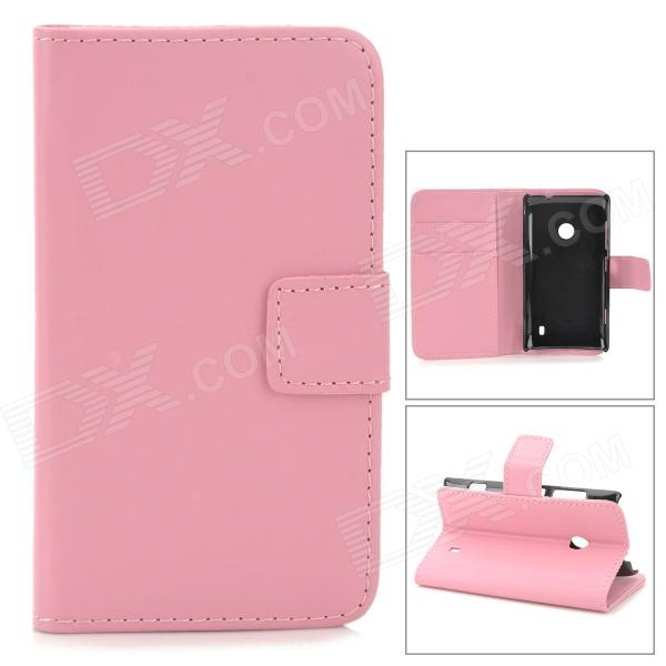 Stylish Plain Flip-open PU Leather Case w/ Holder + Card Slot for Nokia Lumia 520 - Pink kinston stylish flip open pu plastic case w stand card slot for nokia lumia 520 4 3 black