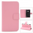 Stylish Plain Flip-open PU Leather Case w/ Holder + Card Slot for Nokia Lumia 520 - Pink