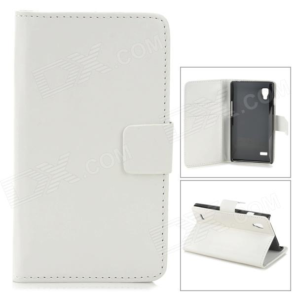 A-336 Stylish Protective PU Leather Case w/ Card Holder Slots for LG L9 - White stylish protective pu leather case w card holder slots for google nexus 7 ii black