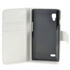 A-336 Stylish Protective PU Leather Case w/ Card Holder Slots for LG L9 - White