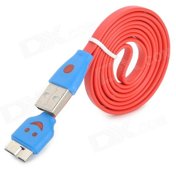 USB 3.0 to Micro USB 3.0 Type B Male Data / Charging Cable for Samsung N0te 3 / 9000 - Red (100cm) flat micro usb male to usb 2 0 male data sync charging cable for samsung more purple 100cm