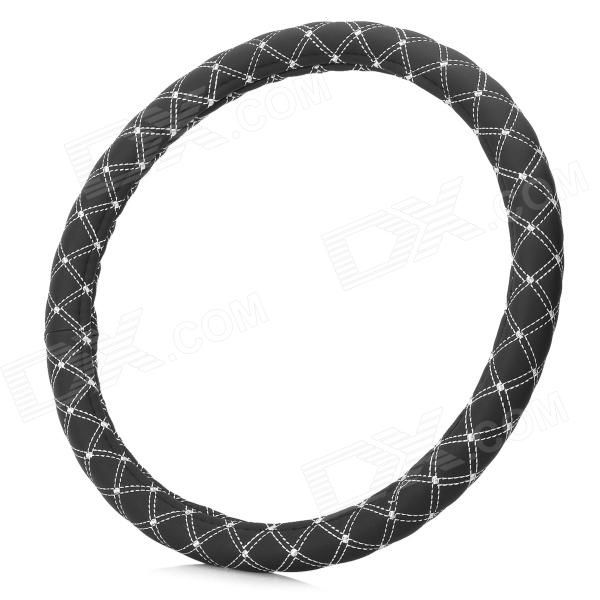 M2-A Environmental Fiber Car Steering Wheel Cover - Black + White (Size M)