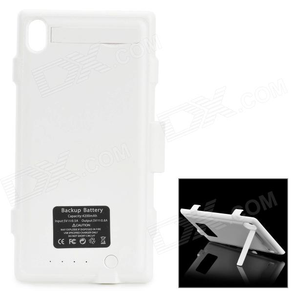 5V 4200mAh Li-ion Battery Back Case Holder for Sony L39h / Xperia Z1+ More - White + Black 1pcs lot battery holder box case 3x aa 4 5v with switch