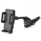 12V Cigarette Lighter Power w/ 2 USB Ports Holder for Smart Phone - Black