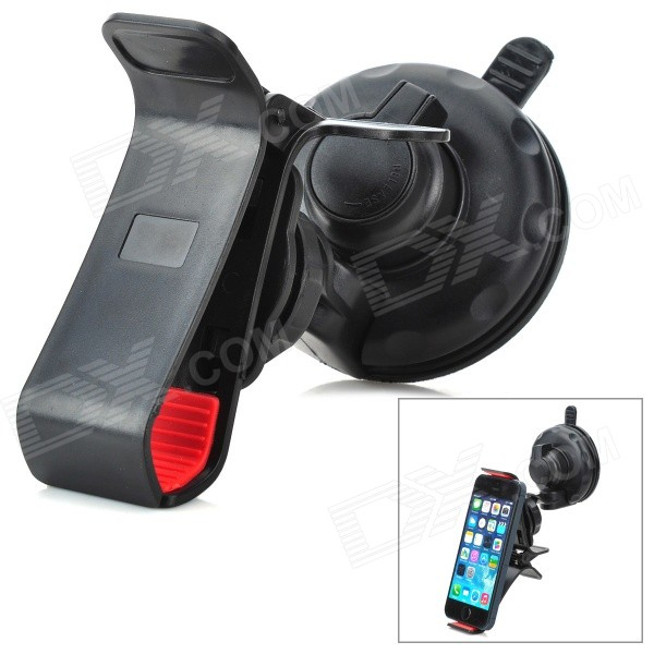 360 Degree Rotatable Plastic Mount Holder w/ Suction Cup for Cell Phone + GPS - Black + Red yd2167 k 360 degree rotatable universal suction cup car mount holder bracket for gps pda black