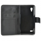 A-336 Stylish Protective PU Leather Case w/ Card Holder Slots for LG L9 - Black