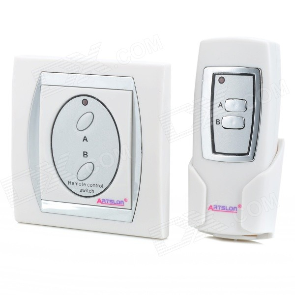 Remoto Interruptor de pared Control 2 puerto inalámbrico digital - blanco + plata