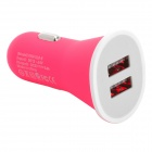 Car Cigarette Powered Charging Adapter w/ Double USB Output - White + Deep Pink