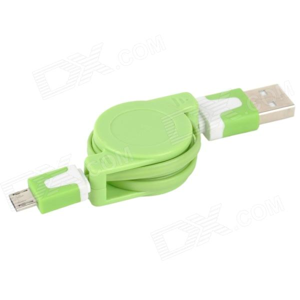 Convenient USB Male to Micro USB Male Retractable Data Sync & Charging Cable - Green + White usb 2 0 male to micro usb male data sync charging cable for amazon ebook reader white 180cm