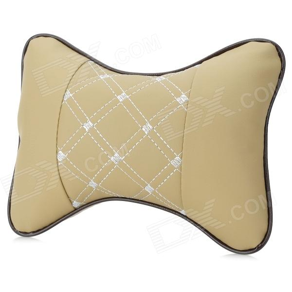 H002 Car Headrest PVC Leather + Cotton Cushion Pillow - Khaki