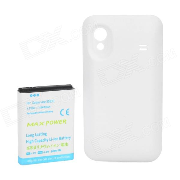 Replacement 3.7V 4200mAh Battery + ABS Back Case for Samsung Galaxy Ace / S5830 - White + Blue replacement dual core 1600mah li ion battery for samsung galaxy ace s5830 2 pcs