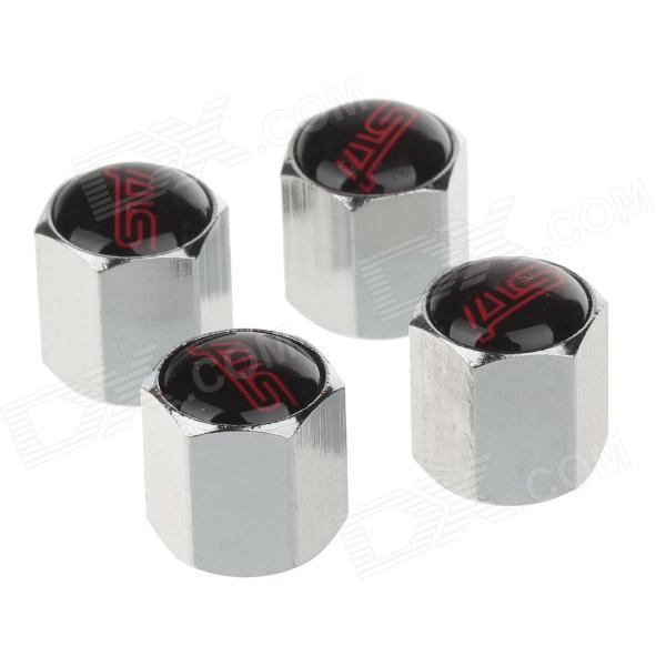 YONGXUN Universal Fashionable Aluminum Alloy Car Tire Valve Caps - Silver + Black + Red (4 PCS)
