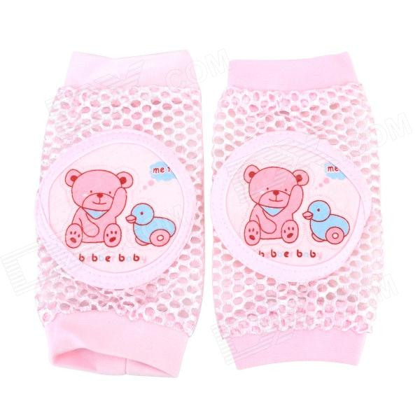 Bain treasure 7246 Baby Crawling Hands Knee Protectors - White + Pink (Pair)