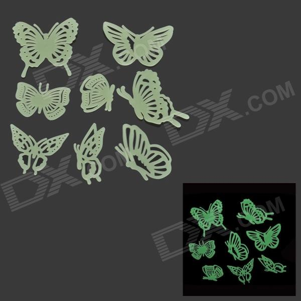 LX-1299 Beautiful Glow-in-the-dark Butterfly PVC Wall Sticker - Light Green (8 PCS) glow in the dark dog footprint style decoration wall paper sticker green