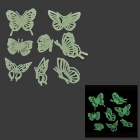 LX-1299 Beautiful Glow-in-the-dark Butterfly PVC Wall Sticker - Light Green (8 PCS)