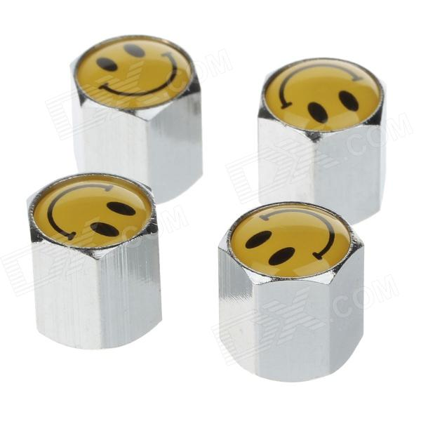 YONGXUN Fashionable Smile Pattern Tire Valve Caps - Silver + Yellow (4 PCS)