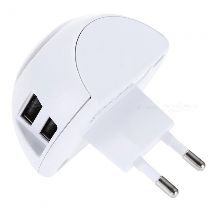 USB EU Plug Power Adapter w/ Night Light - White (100V)