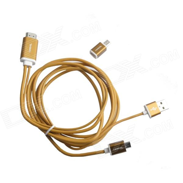 S-M14 Micro USB to HDMI 1080P MHL Cable for Samsung Galaxy S4 / S3 / Note 3 / Note 2 - Yellow mini style micro usb 5 pin female to micro 11 pin male adapter for samsung galaxy golden