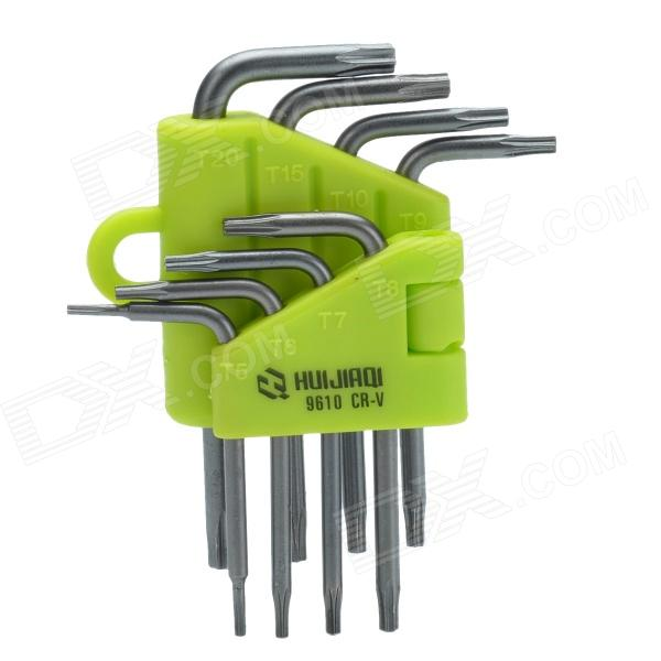 HUIJIAQI Star Style Hex Key Wrench Tools Kit - Green (8-Piece Pack)