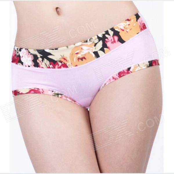 Women's Sexy Comfortable Pink Flowers Bamboo Fiber Non-trace Underpants -  Pink