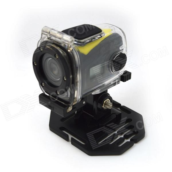 HD 720P Mini Sports DV 1.3 MP CMOS Water Resistant Camera - BlackSport Cameras<br>Form  ColorBlackModelS11MaterialPlasticQuantity1 DX.PCM.Model.AttributeModel.UnitImage SensorCMOSAnti-ShakeYesFocal Distancef=5.8, F2.8 DX.PCM.Model.AttributeModel.UnitFocusing RangenoWide Angle90 degreeEffective Pixels1.3 MPMax. Pixels5.0 MP DX.PCM.Model.AttributeModel.UnitImagesOthers,NOStill Image ResolutionNOVideoAVIVideo ResolutionHD1280 x 720P@30fps<br>VGA (640 x 480)P@60fpsVideo Frame Rate30Cycle RecordYesISOOthers,noExposure CompensationOthers,noWhite Balance ModeAutoSupports Card TypeTFSupports Max. Capacity32 DX.PCM.Model.AttributeModel.UnitBuilt-in Memory / RAMNoOutput InterfaceAV,Mini USBLCD ScreenYesScreen TypeTFTScreen Size1.6 DX.PCM.Model.AttributeModel.UnitBattery included or notYesBattery Measured Capacity 220 DX.PCM.Model.AttributeModel.UnitNominal Capacity220 DX.PCM.Model.AttributeModel.UnitBattery TypeLi-ion batteryLow Battery AlertsYesWater ResistantFor daily wear. Suitable for everyday use. Wearable while water is being splashed but not under any pressure.Supported LanguagesEnglishPacking List1 x Sports camera1 x Sports camera waterproof case1 x USB cable (80cm)1 x AV cable (100cm)1 x Helmet straps1 x Multi-function support1 x Holder1 x English user manual<br>