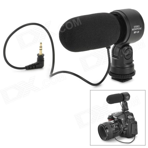 MP-28 External Stereo Microphone Camera for 3.5mm SLR + DV - Black professional stereo microphone for dv black grey 1 x cr2