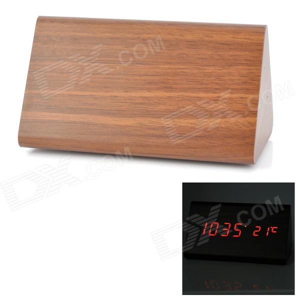 Triangle Style Voice Control Desktop Alarm Clock w/ Red LED Display