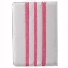 Trilinear Pattern Protective PU Leather Case Cover Stand w/ Card Slot for Ipad AIR - White + Pink