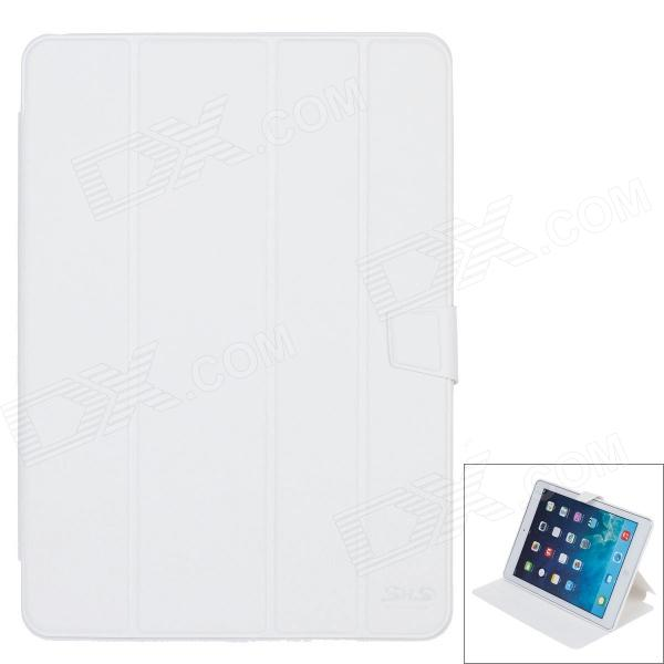 SHS Stylish Protective PU Leather + Silicone Case Cover Stand for Ipad AIR - White
