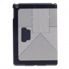 Lines Style Protective PU Leather + Plastic Case Cover Stand for Ipad AIR - White + Black