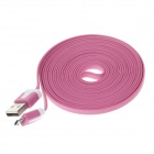 Flat Micro USB Male to USB 2.0 Male Data Sync / Charging Cable for Samsung + More -Deep Pink (300cm)