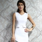 LC2916-1 Trendy Mock-pocket Bodycon Dress - White