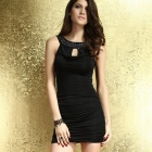 LC2920 Bejeweled Neckline Full Ruching Mini Dress - Black