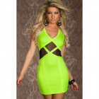 LC2917-1 Seductive Party Mini Dress with Tulle Insert - Fluorescent green