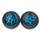 Five-pointed Star Pattern Ancient Palace Bronze Ear Studs - Blue (Pair)