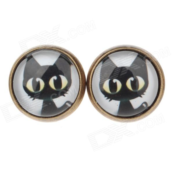 Big Black Cat Pattern Ancient Palace Bronze Ear Studs - White + Black + Yellow (Pair)