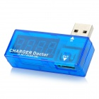 4-Digit Red Display 3.5~7V 0~3A USB Power Charger Current Voltage Tester - Blue + Silver