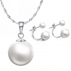 EQute eQuteCOO22C1 925 Sterling Silver Shell Pearl Pendant & Earring Jewelry Set - White + Silver
