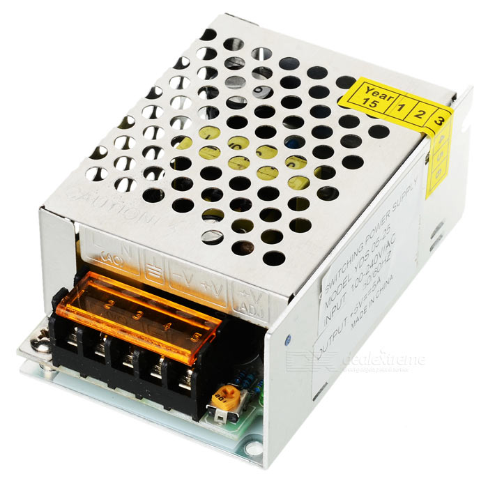 цены  Y-5-5 25W 5V 5A LED Switching Power Supply Adapter - Silver (100~240V)